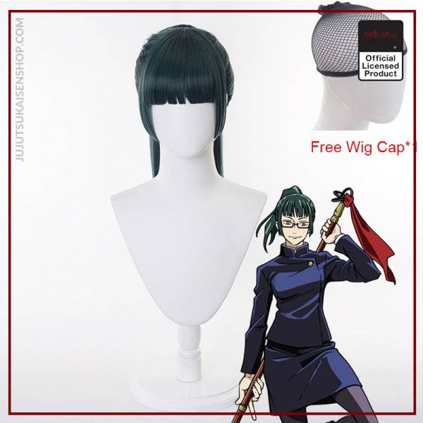 2020 Anime Zen in Maki Cosplay Costume Jujutsu Kaisen Maki Wigs Dark Green Ponytail Hair Woman 3 - Jujutsu Kaisen Shop