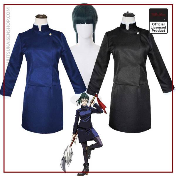 2020 Anime Zen in Maki Cosplay Costume Jujutsu Kaisen Maki Wigs Dark Green Ponytail Hair Woman - Jujutsu Kaisen Shop