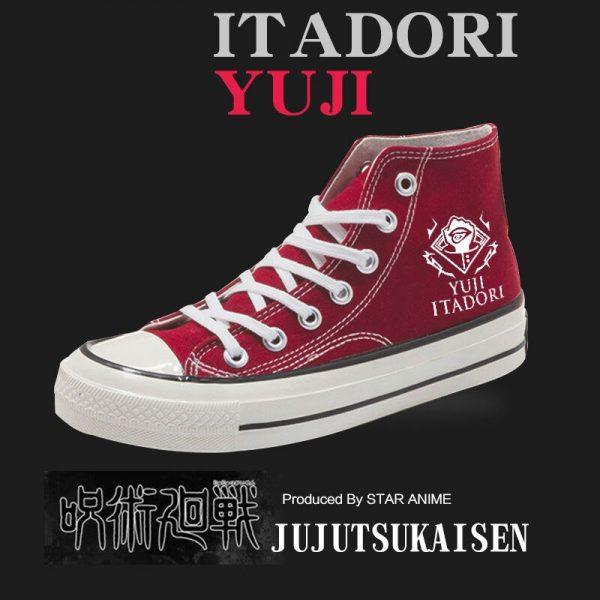 Anime Jujutsu Kaisen Yuji Itadori Canvas Shoes Women Men Student Ankle Boots Sneakers Autumn Winter High 3 - Jujutsu Kaisen Shop