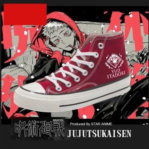 Anime Jujutsu Kaisen Yuji Itadori Canvas Shoes Women Men Student Ankle Boots Sneakers Autumn Winter High - Jujutsu Kaisen Shop