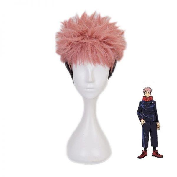 Anime Jujutsu Kaisen Cosplay Yuji Itadori Wig Jujutsu Kaisen Yuji Itadori Pink Black Short Heat Resistant - Jujutsu Kaisen Shop