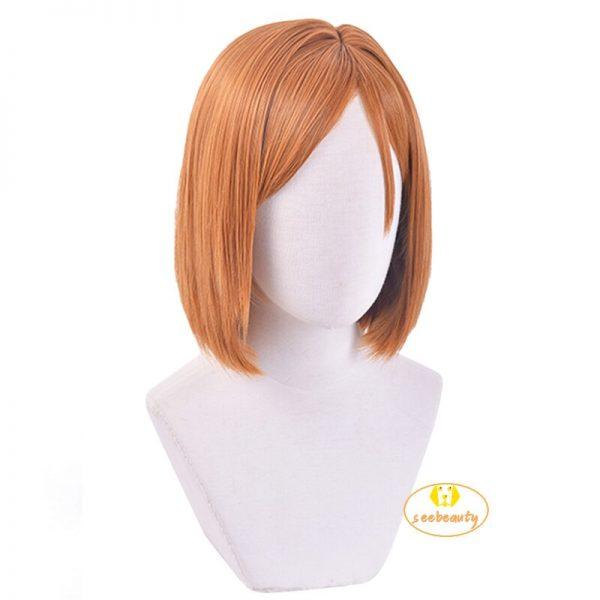 Anime Jujutsu Kaisen Nobara Kugisaki Costume Cosplay Wig Brown Wig Women Role Play Wig Hair Cap 1 - Jujutsu Kaisen Shop