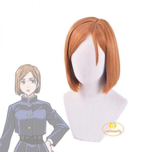 Anime Jujutsu Kaisen Nobara Kugisaki Costume Cosplay Wig Brown Wig Women Role Play Wig Hair Cap - Jujutsu Kaisen Shop