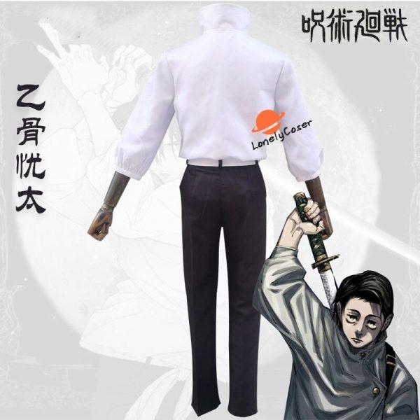 Anime Jujutsu Kaisen Otsukotsu Yuta Cosplay Costume Suit Wig White Top Pants Kimono Halloween Party Uniform 3 - Jujutsu Kaisen Shop