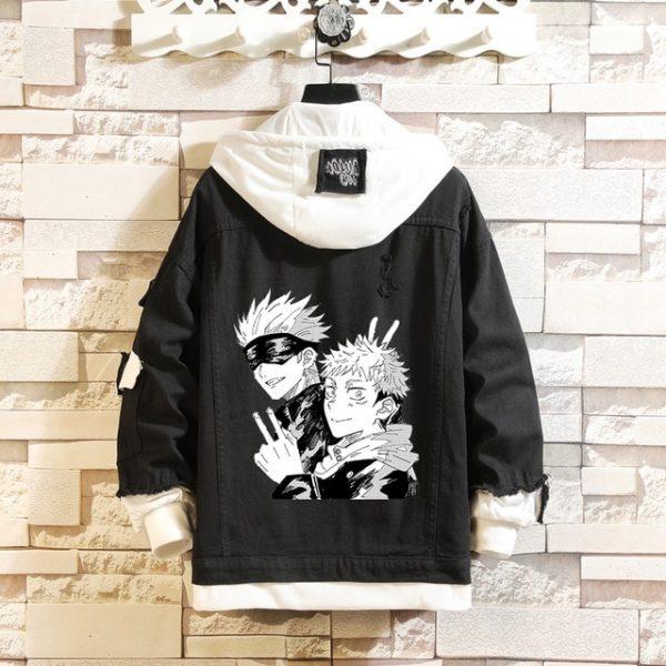Jujutsu Kaisen Denim Jackets Yuji Itadori Sweater Coat Gojo Satoru Black Hole Jacket Audlt Hooded - Jujutsu Kaisen Shop